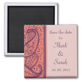 Coral II Paisley Pattern Save the Date Magnet