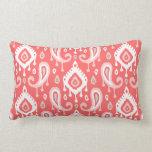Coral Ikat Paisley Throw Pillow