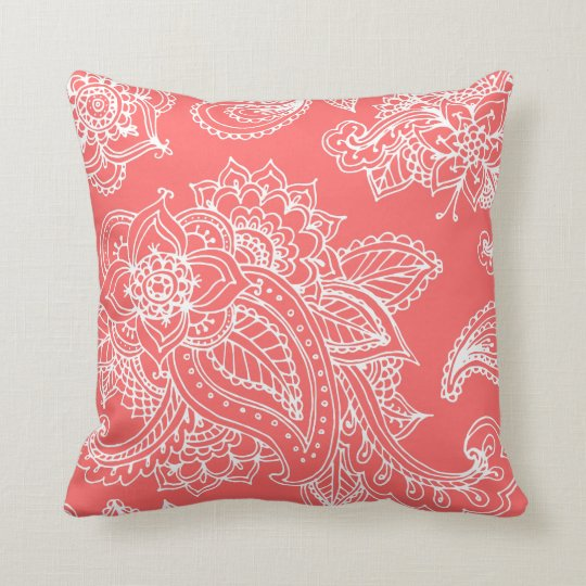 Coral Illustrated Bohemian Paisley Henna Throw Pillow