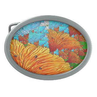 Coral Illustration Oval Belt Buckle