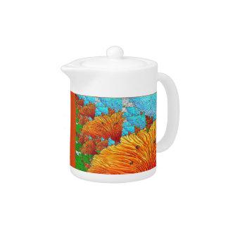 Coral Illustration Teapot