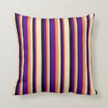 [ Thumbnail: Coral, Indigo, Black & Bisque Colored Pattern Throw Pillow ]