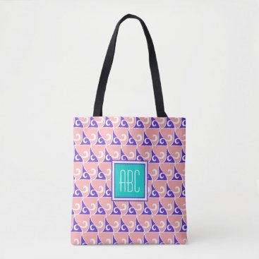 Beach Themed Coral & Indigo Fin Pattern Monogram Tote Bag