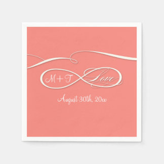 Coral infinito del boda del amor de la muestra del servilleta desechable