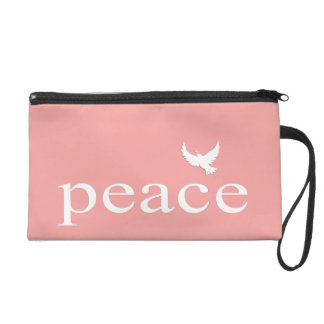 Coral Inspirational Peace Quote Wristlet Purse