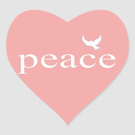 Coral Inspirational Peace Quote Heart Sticker