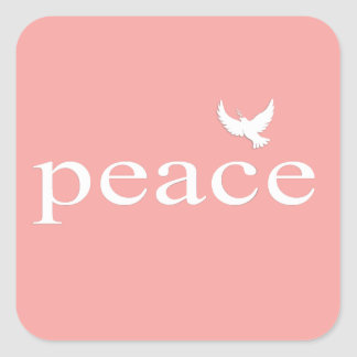 Coral Inspirational Peace Quote Square Sticker