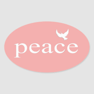 Coral Inspirational Peace Quote Oval Sticker