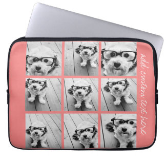 Coral Instagram Photo Collage with 9 photos Computer Sleeve
