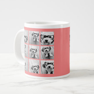 Coral Instagram Photo Collage with 9 photos Large Coffee Mug