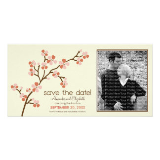 Coral/Ivory Cherry Blossom Save the Date Photocard Photo Card