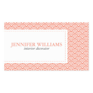 Coral Japanese Seigaiha Pattern Business Card Template