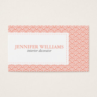 Coral Japanese Seigaiha Pattern Business Card