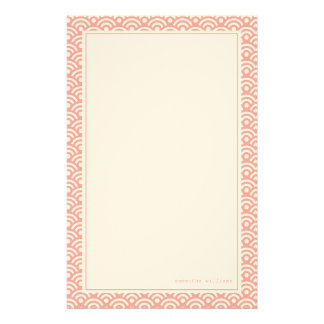 Coral Japanese Seigaiha Pattern Stationery