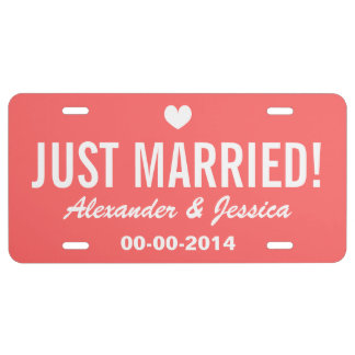 Coral Just married license plate for wedding car