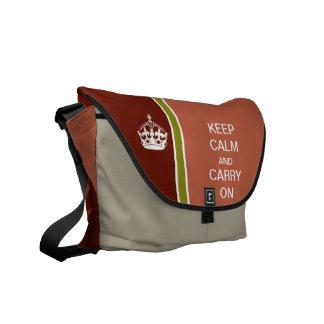 Coral KEEP CALM AND CARRY ON Racing Stripe Messenger Bag