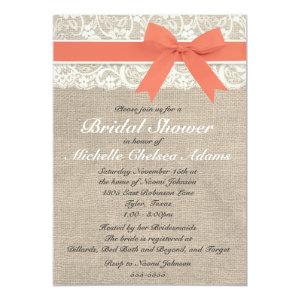 Coral Lace Burlap Bridal Shower Invitation
