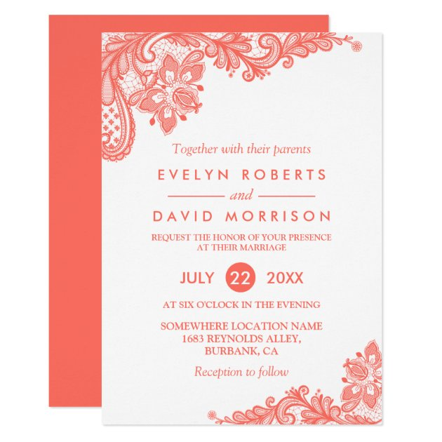 Coral Lace Floral Elegant Chic Wedding Invitation (front side)