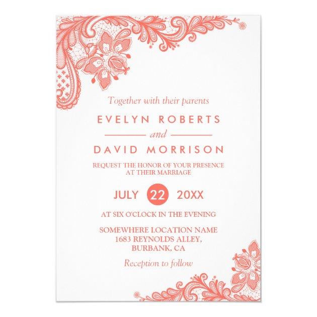 Coral Lace Floral Elegant Chic Wedding Invitation (back side)