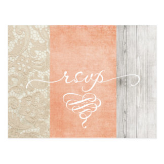 Coral Lace Rustic Wood RSVP Postcard - Customize