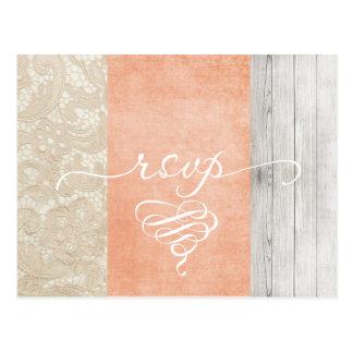 Coral Lace Rustic Wood RSVP Postcard - Customize
