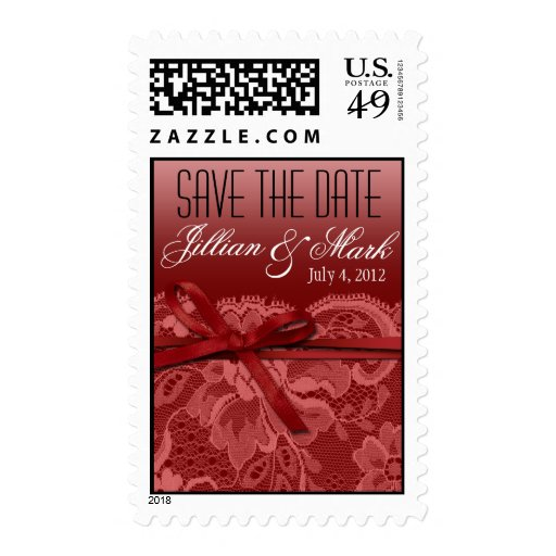Coral Lace Save the Date Wedding Postage