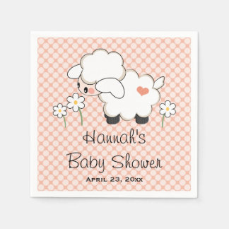 Coral Lamb Baby Shower Napkin