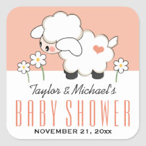 Coral Lamb Baby Shower Square Sticker