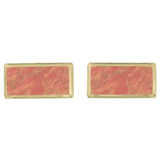 Coral Lava Gold Finish Cufflinks