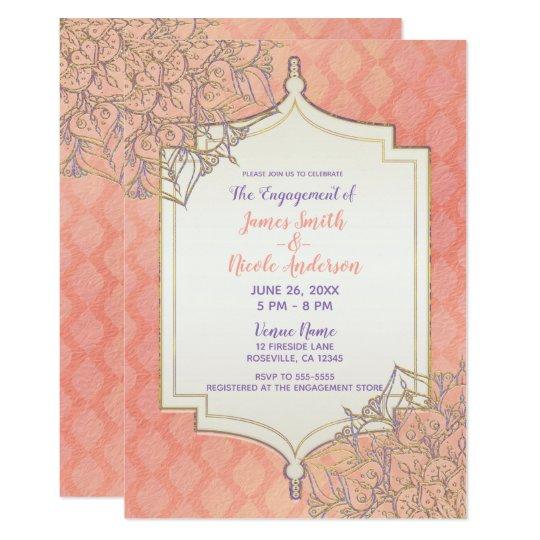 Coral Lavender Gold Moroccan Indian Engagement Invitation Zazzle Com