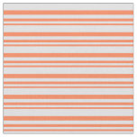 [ Thumbnail: Coral & Lavender Lined Pattern Fabric ]