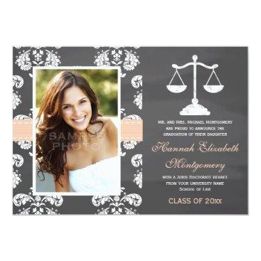 Lawyer Themed CORAL LAW SCHOOL CHALKBOARD GRADUATION CARD