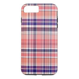 Coral ligero, azul marino, tela escocesa de muy funda iPhone 7 plus