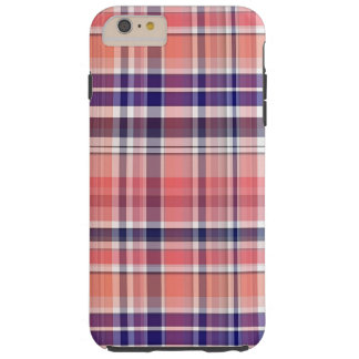 Coral ligero, azul marino, tela escocesa de muy funda resistente iPhone 6 plus