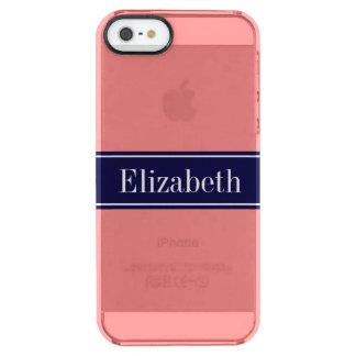 Coral ligero sólido, monograma del nombre de la funda clear para iPhone SE/5/5s