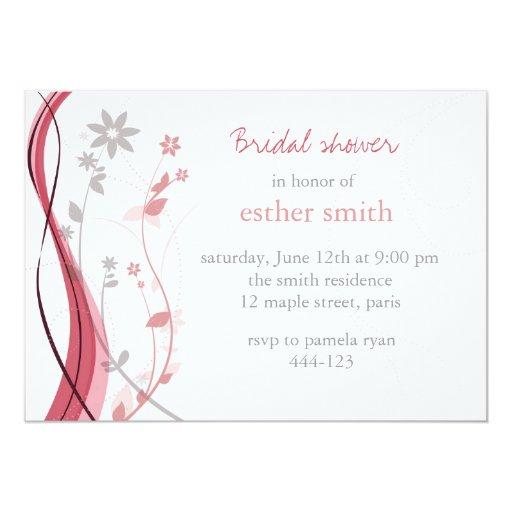 Coral ligero y invitación floral gris del encanto invitación 12,7 x 17,8 cm