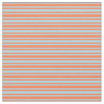 [ Thumbnail: Coral & Light Blue Lines Pattern Fabric ]