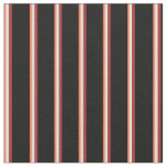 [ Thumbnail: Coral, Light Cyan, Brown, and Black Stripes Fabric ]
