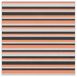 [ Thumbnail: Coral, Light Gray, and Black Colored Pattern Fabric ]