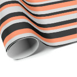 [ Thumbnail: Coral, Light Gray, and Black Colored Pattern Wrapping Paper ]