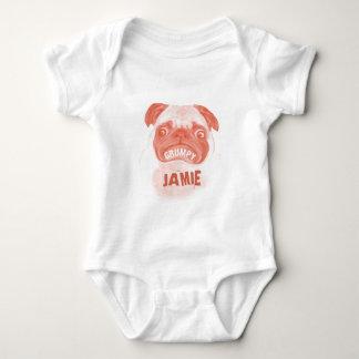 Coral Light Orange Grumpy Puggy Baby Dog Puppy Baby Bodysuit