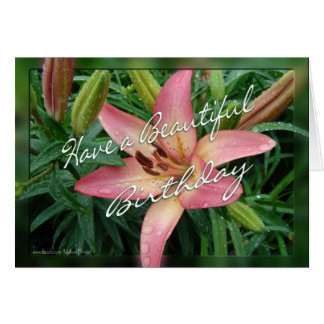 coral lily birthday card-customize greeting card