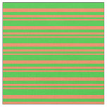 [ Thumbnail: Coral & Lime Green Colored Striped Pattern Fabric ]