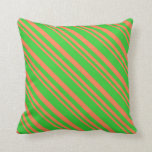 [ Thumbnail: Coral & Lime Green Colored Striped Pattern Pillow ]