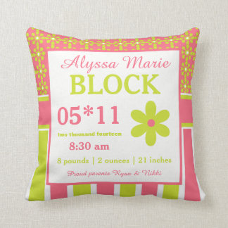 Coral Lime Green Floral Baby Announcement Pillow