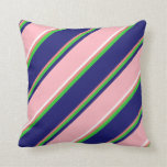 [ Thumbnail: Coral, Lime Green, Midnight Blue, Pink & White Throw Pillow ]