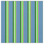 [ Thumbnail: Coral, Lime, Pale Goldenrod, Dark Green & Blue Fabric ]