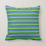 [ Thumbnail: Coral, Lime, Pale Goldenrod, Dark Green & Blue Throw Pillow ]