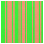 [ Thumbnail: Coral & Lime Striped Pattern Fabric ]
