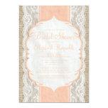 "Coral Linen Burlap Lace Bridal Shower Invitations 5"" X 7"" Invitation Card"